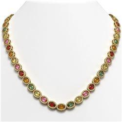 31.96 CTW Multi Color Sapphire & Diamond Halo Necklace 10K Yellow Gold - REF-674Y4K - 40450