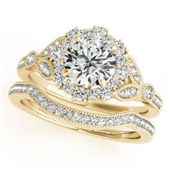 1.69 CTW Certified VS/SI Diamond 2Pc Wedding Set Solitaire Halo 14K Yellow Gold - REF-400H2A - 30968