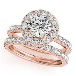 2.54 CTW Certified VS/SI Diamond 2Pc Wedding Set Solitaire Halo 14K Rose Gold - REF-548X5T - 30757