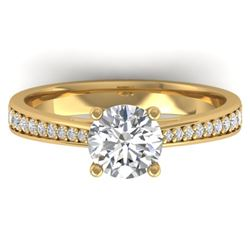 1.26 CTW Certified VS/SI Diamond Solitaire Art Deco Ring 14K Yellow Gold - REF-352N4Y - 30386