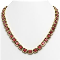 60.49 CTW Tourmaline & Diamond Halo Necklace 10K Yellow Gold - REF-1024F8N - 41350