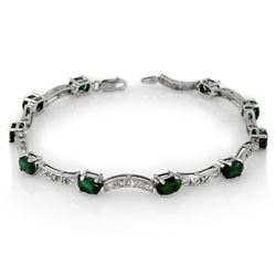 4.25 CTW Emerald & Diamond Bracelet 14K White Gold - REF-78T2M - 10032