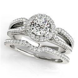 0.96 CTW Certified VS/SI Diamond 2Pc Wedding Set Solitaire Halo 14K White Gold - REF-105K3W - 30867