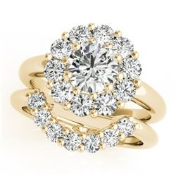 3.35 CTW Certified VS/SI Diamond 2Pc Wedding Set Solitaire Halo 14K Yellow Gold - REF-633N3Y - 31279