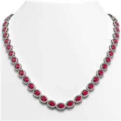 34.11 CTW Ruby & Diamond Halo Necklace 10K White Gold - REF-562N9Y - 40403