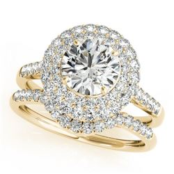 1.52 CTW Certified VS/SI Diamond 2Pc Wedding Set Solitaire Halo 14K Yellow Gold - REF-167M6H - 30899