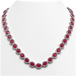 45.93 CTW Ruby & Diamond Halo Necklace 10K White Gold - REF-674M2H - 41045