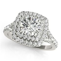1.6 CTW Certified VS/SI Diamond Solitaire Halo Ring 18K White Gold - REF-400T8M - 26240