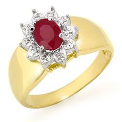 0.50 CTW Ruby Ring 10K Yellow Gold - REF-16N4Y - 13352