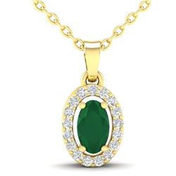 0.51 CTW Emerald & Micro Pave VS/SI Diamond Necklace Halo 18K Yellow Gold - REF-25F5N - 21320