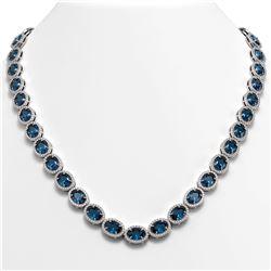 55.41 CTW London Topaz & Diamond Halo Necklace 10K White Gold - REF-576Y2K - 40589