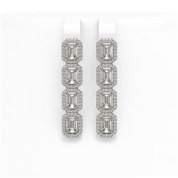 6.08 CTW Emerald Cut Diamond Designer Earrings 18K White Gold - REF-1302A9X - 42755