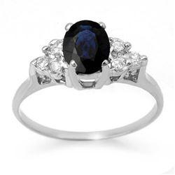 1.41 CTW Blue Sapphire & Diamond Ring 18K White Gold - REF-41M8H - 13734
