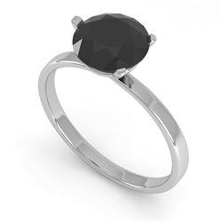 1.50 CTW Black Certified Diamond Engagement Ring Martini 14K White Gold - REF-39Y2K - 38335
