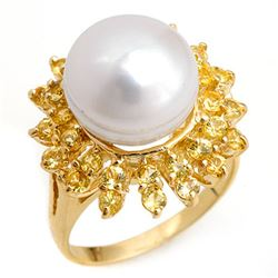 1.50 CTW Yellow Sapphire & Pearl Ring 10K Yellow Gold - REF-47A6X - 10370