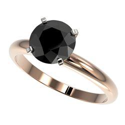 2 CTW Fancy Black VS Diamond Solitaire Engagement Ring 10K Rose Gold - REF-54F2N - 32936