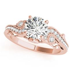 1.5 CTW Certified VS/SI Diamond Solitaire Antique Ring 18K Rose Gold - REF-488T5M - 27415