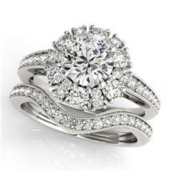 1.94 CTW Certified VS/SI Diamond 2Pc Wedding Set Solitaire Halo 14K White Gold - REF-202T4M - 31121