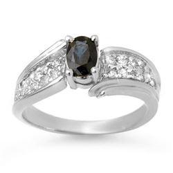 1.40 CTW Blue Sapphire & Diamond Ring 18K White Gold - REF-70T9M - 13318