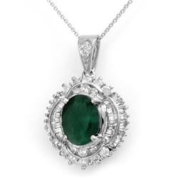5.35 CTW Emerald & Diamond Pendant 18K White Gold - REF-178H2A - 13009