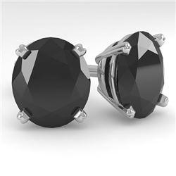 18.0 CTW Oval Black Diamond Stud Designer Earrings 18K White Gold - REF-384W5F - 32337