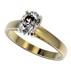 1.25 CTW Certified VS/SI Quality Oval Diamond Solitaire Ring 10K Yellow Gold - REF-372F3N - 33012