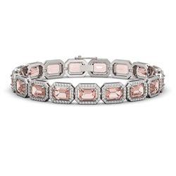 22.81 CTW Morganite & Diamond Halo Bracelet 10K White Gold - REF-569F6N - 41390
