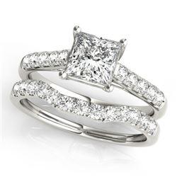 1.21 CTW Certified VS/SI Princess Diamond 2Pc Wedding Set 14K White Gold - REF-166F2N - 32072