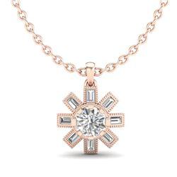 1.33 CTW VS/SI Diamond Solitaire Art Deco Stud Necklace 18K Rose Gold - REF-220T9M - 37068