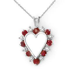 1.01 CTW Ruby & Diamond Pendant 10K White Gold - REF-23W3F - 12612
