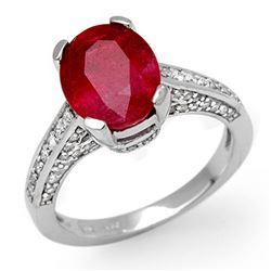 5.0 CTW Ruby & Diamond Ring 10K White Gold - REF-70M9H - 11884