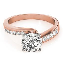 0.91 CTW Certified VS/SI Diamond Bypass Solitaire Ring 18K Rose Gold - REF-190K8W - 27676