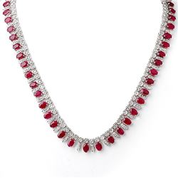 26 CTW Ruby & Diamond Necklace 14K White Gold - REF-709A3X - 11715