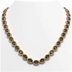 49.46 CTW Tourmaline & Diamond Halo Necklace 10K Rose Gold - REF-763M6H - 40575