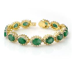 30.05 CTW Emerald & Diamond Bracelet 14K Yellow Gold - REF-618F2N - 13347