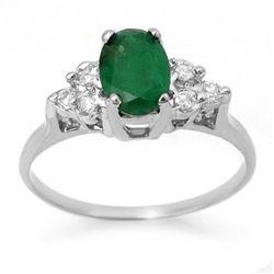 1.18 CTW Emerald & Diamond Ring 18K White Gold - REF-41K8W - 13967