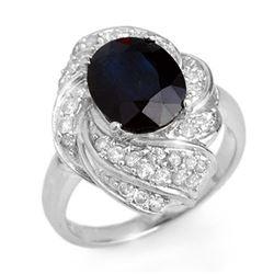 3.85 CTW Blue Sapphire & Diamond Ring 18K White Gold - REF-102W2F - 13087