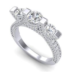 2.3 CTW VS/SI Diamond Solitaire Micro Pave 3 Stone Ring Band 18K White Gold - REF-263W6F - 36956
