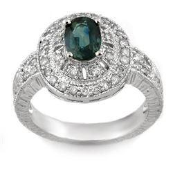 2.08 CTW Blue Sapphire & Diamond Ring 14K White Gold - REF-68F2N - 10990