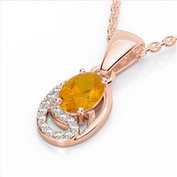 1.25 CTW Citrine & Micro Pave VS/SI Diamond Necklace 10K Rose Gold - REF-18X9T - 22346