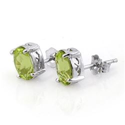 2.0 CTW Peridot Solitaire Stud Earrings 18K White Gold - REF-20M4H - 10281