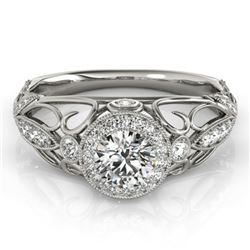 0.93 CTW Certified VS/SI Diamond Solitaire Antique Ring 18K White Gold - REF-167W3F - 27327