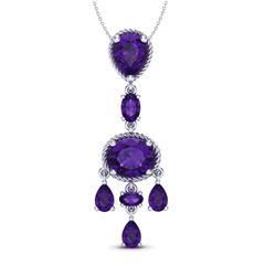 8 CTW Amethyst Necklace Designer Vintage 10K White Gold - REF-34Y4K - 20393