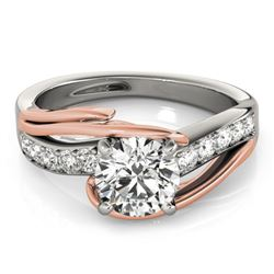 1.25 CTW Certified VS/SI Diamond Bypass Solitaire Ring 18K White & Rose Gold - REF-398X9T - 27764