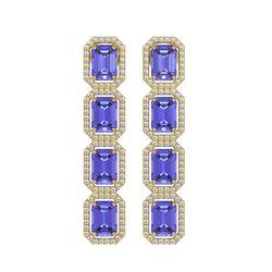 11.93 CTW Tanzanite & Diamond Halo Earrings 10K Yellow Gold - REF-290W2F - 41437