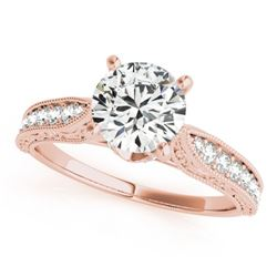 0.98 CTW Certified VS/SI Diamond Solitaire Antique Ring 18K Rose Gold - REF-205A8X - 27355