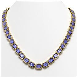 56.69 CTW Tanzanite & Diamond Halo Necklace 10K Yellow Gold - REF-1356M4H - 41341