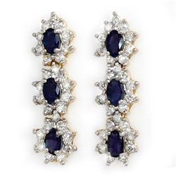 5.88 CTW Blue Sapphire & Diamond Earrings 14K Yellow Gold - REF-105W5F - 12942