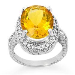 6.0 CTW Citrine & Diamond Ring 14K White Gold - REF-77H3A - 13401