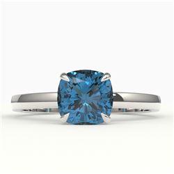 1.50 CTW Cushion Cut London Blue Topaz Designer Solitaire Ring 18K White Gold - REF-33T3M - 22149